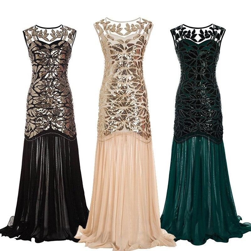 1920 s perles paillettes Gatsby clapet robes longues Vintage femmes robes mousseux en mousseline de soie Sexy Chic nouveau Club robes de grande taille