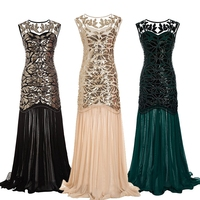 1920s Beaded Sequins Gatsby Flapper Dresses Long Vintage Women Dresses Sparkling Chiffon Sexy Chic New Club Dresses Plus Size