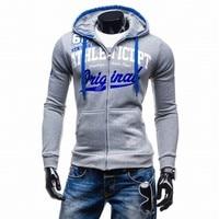 2017 Hoodies Men Sudaderas Hombre Hip Hop Mens Brand Letter Hooded Zipper Hoodie Sweatshirt Suit Slim