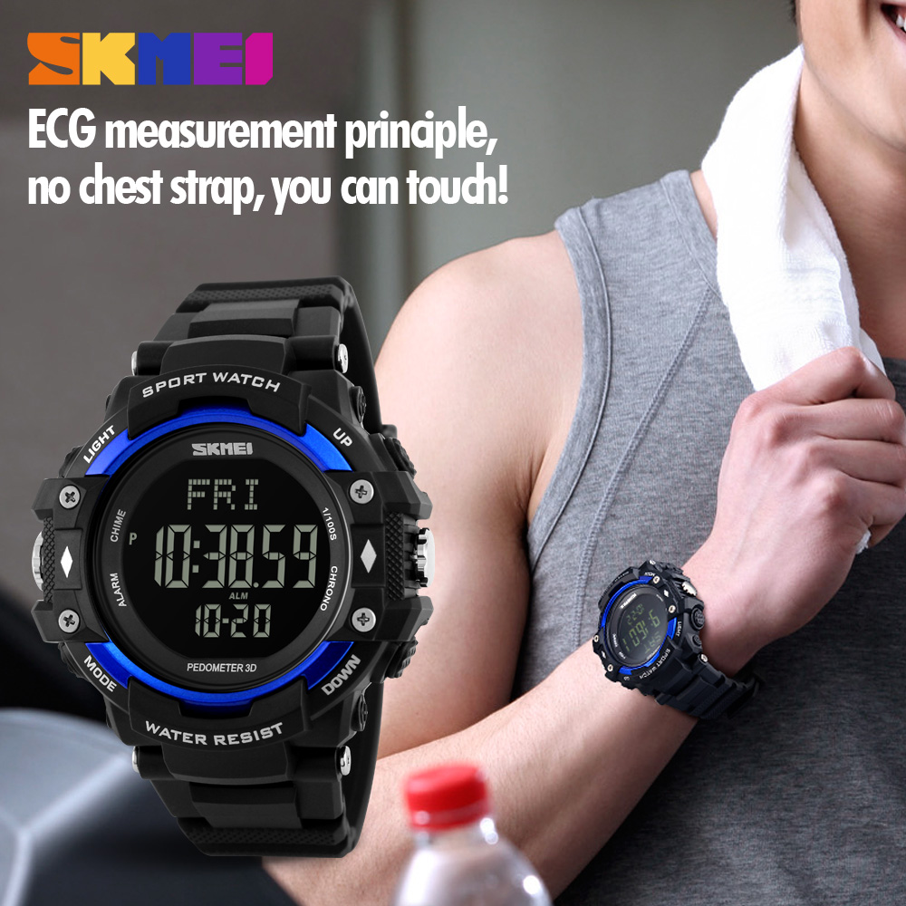 Digital Watches Skmei Men Sports Watches 3d Pedometer Heart Rate Monitor Calories Counter 50m Waterproof Digital Led Mens Wristwatches