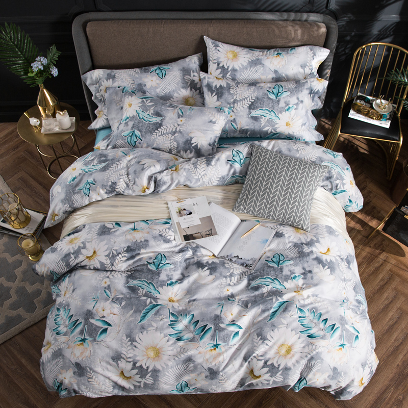 2018 White Flowers Green Bedding Set 4Pcs Queen King Size Egyptian Cotton Fabric Duvet Cover Flat Sheet Pillow Cases2018 White Flowers Green Bedding Set 4Pcs Queen King Size Egyptian Cotton Fabric Duvet Cover Flat Sheet Pillow Cases