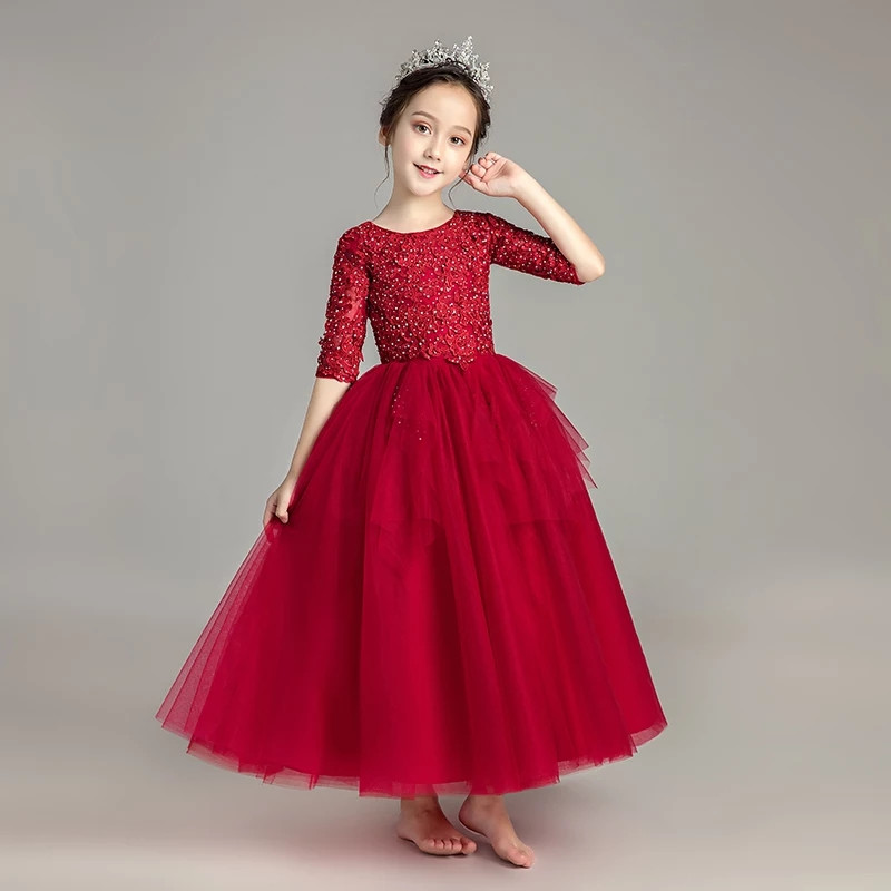 2018 New Luxury Girl Pink/Gray/red Birthday Evening Party Pageant Communion Dress Little Kids/Children Dress for Wedding Party music note party swing dress