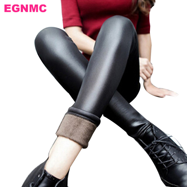 EGNMC Plus Velvet Fleece Lined Women Leather Leggings Winter Warm Thick PU Leather Skinny Sexy Slim Elastic Stretch Leggings