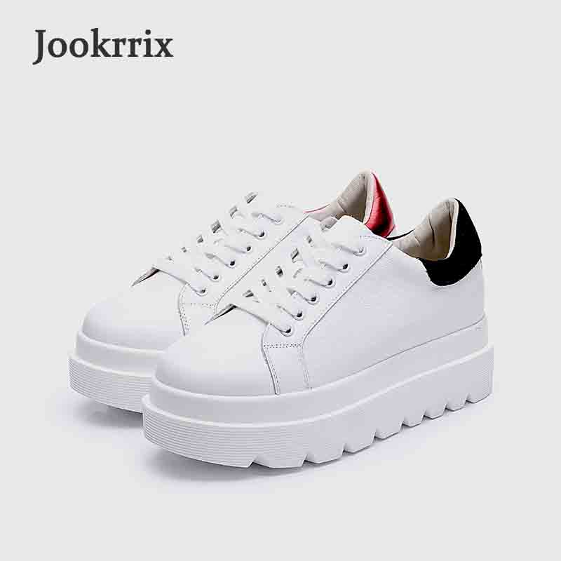Jookrrix 2018 New Spring Fashion Brand Real Leather Lady Leisure White Shoe Women Casual Sneaker Girl Shoe Breathable Soft Black