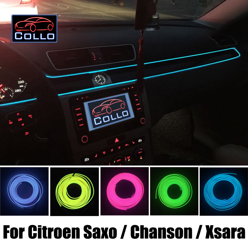Newest EL Wire For Citroen Saxo / Chanson / Xsara / Car Decoration Cold Light Atmosphere Lamp / 9M A Set / 9 Color Choice DIY