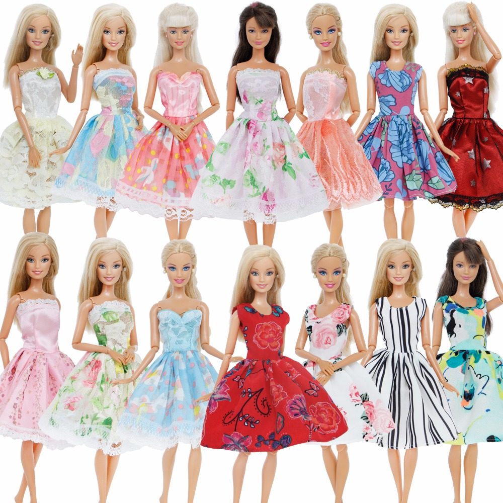 5 Pcs / Lot Handmade Mini Dress Mixed Style Wedding Party Wear Skirt Lace Gown Clothes For Barbie Doll Accessories Toy Kids Gift see thru mini lace dress