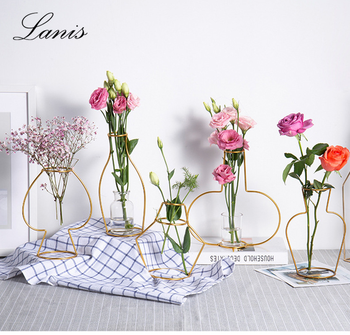 New Gold-plated Vase Desk Face Nordic Ins Wind Creative Geometric Metal Test Tube Extremely Simple Abstract Pot
