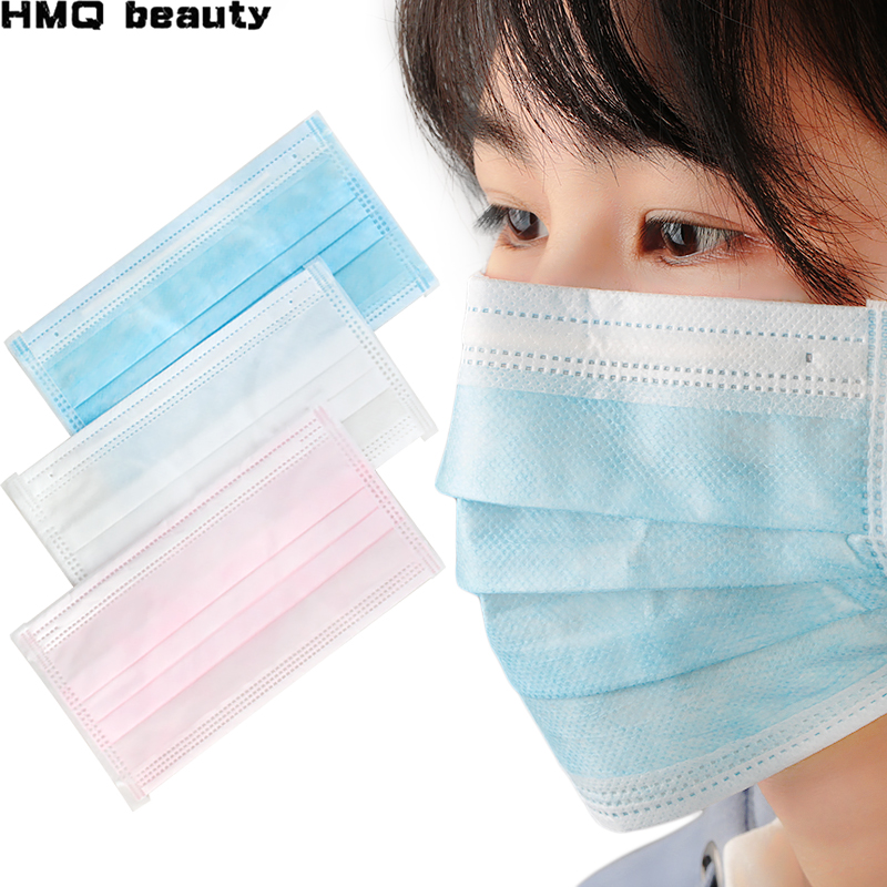 50pcs Dustproof Facial Cover Masks Set 3 Layers Anti-Dust Disposable Surgical Medical Face Mouth Masks Breathable Filtering Air