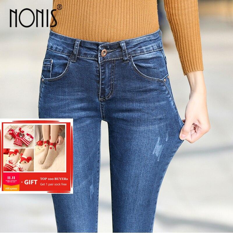 5448c4bd873e US $20.27 29% OFF|Frauen dicke samt jeans weibliche dünne stretch hosen  bleistift hosen damen winter warme denim sexy Damen Leggings jeans 2018 in  ...