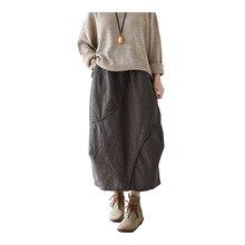 Johnature Nữ Vintage VÁY THU ĐÔNG 2020 Mới Vải Lanh Cotton Comfortabe Mềm Kẻ Sọc Rộng Chữ A Cổ Xám Đỏ Váy