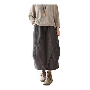 Image 1 - Женская винтажная клетчатая юбка Johnature, Повседневная Мягкая Свободная юбка А силуэта из хлопка и льна, красного и серого цвета, для осени, 2020