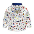 Brand Cartoon Printed Animal Boys Shirts 100% Cotton Long-sleeve Children White Shirts For Boys 2-7 Years Kids Clothes