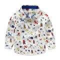 Marca de Dibujos Animados Animal Print Camisas de Los Muchachos 100% Algodón de Los Niños de manga Larga Camisas Blancas Para Niños 2-7 Años Ropa de los cabritos