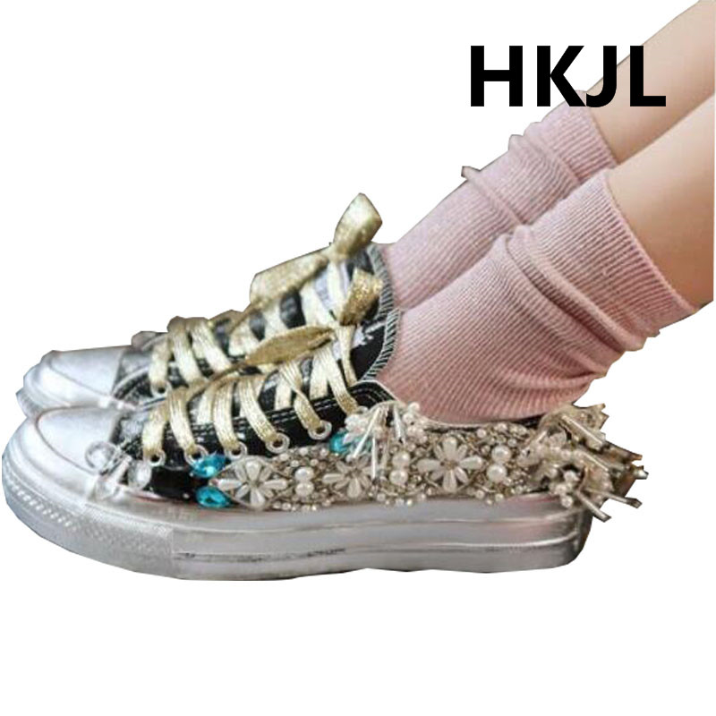 HKJL 2019 สถานียุโรปฤดูใบไม้ร่วง vintage เก่าสกปรกรองเท้าคลาสสิกรองเท้าผ้าใบ heavy กีฬารองเท้าน้ำรองเท้าเจาะ-ใน รองเท้าส้นเตี้ยสตรี จาก รองเท้า บน   3