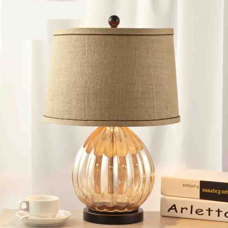 Bed Room Glass Table Lamp Luxurious Fabric Lampshade Living Room Decoration Abajur Table lamp For Bedroom Lamparas De Mesa america water pipe table lamp in loft industrial style led table lamps for bedroom living room abajur lamparas de mesa
