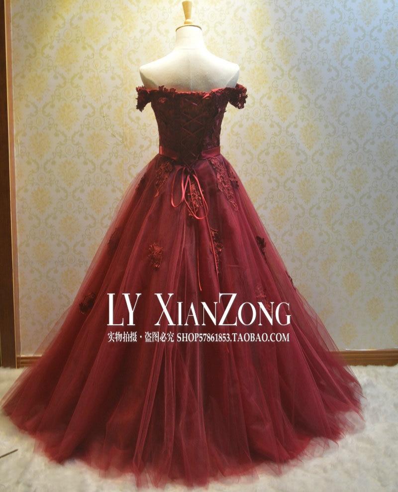 Gothic Dark Red Wedding Dresses Off the Shoulder Lace Up Vintage ...