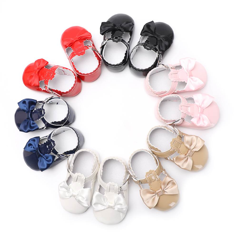 Newborn Baby Shoes Girls Party Princess Booties Beautiful Bow Buckle Strap PU Leather Toddler Crib First Walkers 0-18 Month