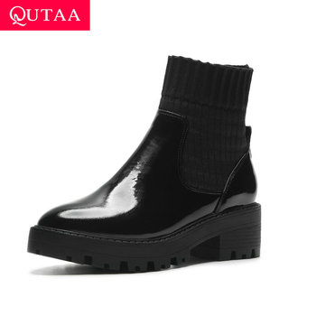 QUTAA 2020 Platform Women Shoes Cow Leather knitting Slip On Ankle Boots Round Toe Autumn Winter Leisure Short Boots Size 34-39