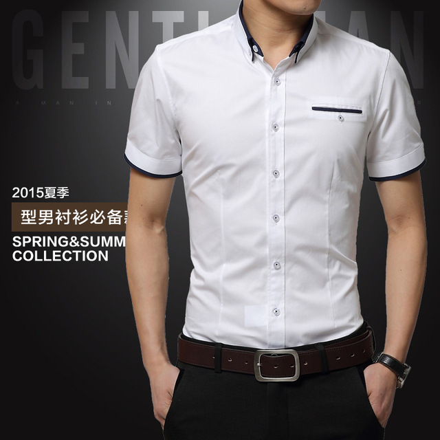 2017 New Arrival Brand Men's Summer Business Shirt Short Sleeves Turn-down Collar Tuxedo Shirt Shirt Men Shirts Big Size 5XL