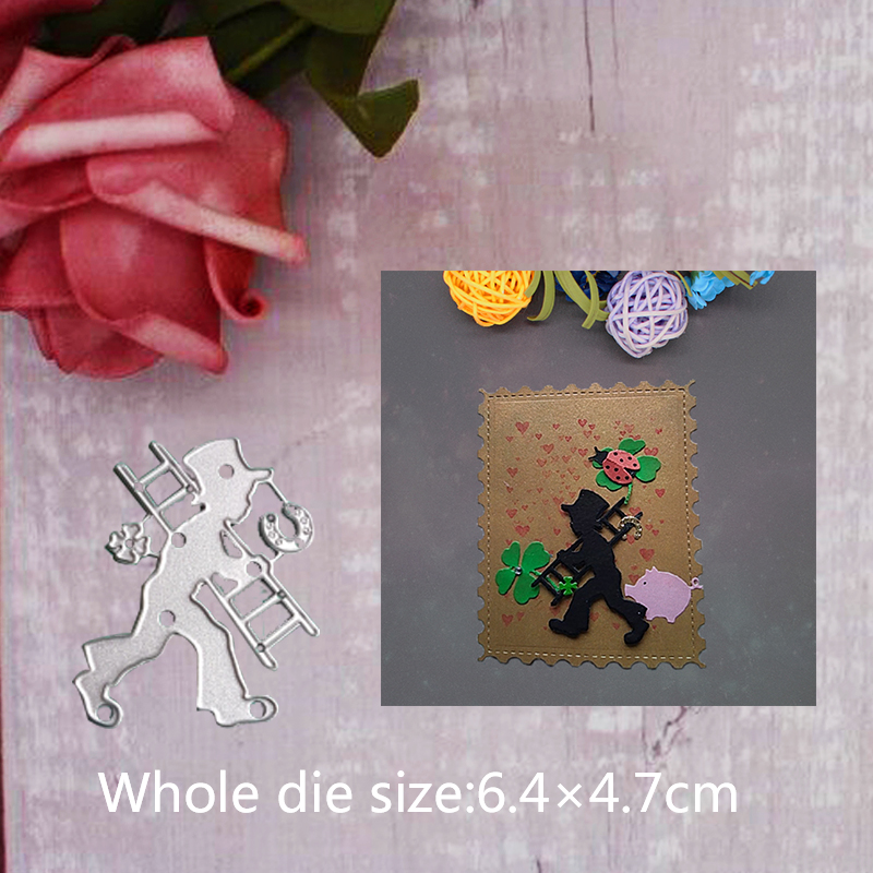 6 4 4 7cm Metal Cutting Dies for Human Figure man and ladder Embossing DIY Scrapbooking Cards Paper Crafts Stencil Dies 2019 in Cutting Dies from Home Garden