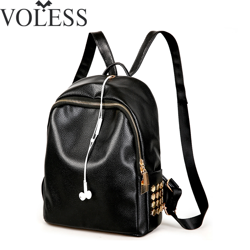 Fashion Large Capacity Women Backpack Rivet Pu Leather Backpacks For Teenage Girls Mochila Softback School Bag Black Backpack fashion gold leather backpack women black vintage large bag for female teenage girls school bag solid backpacks mochila xa56h