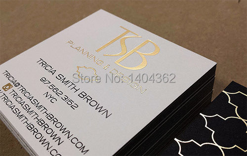gold foil  business cards  Custom gold stamping business card printing-in Business Cards from Office & School Supplies    1