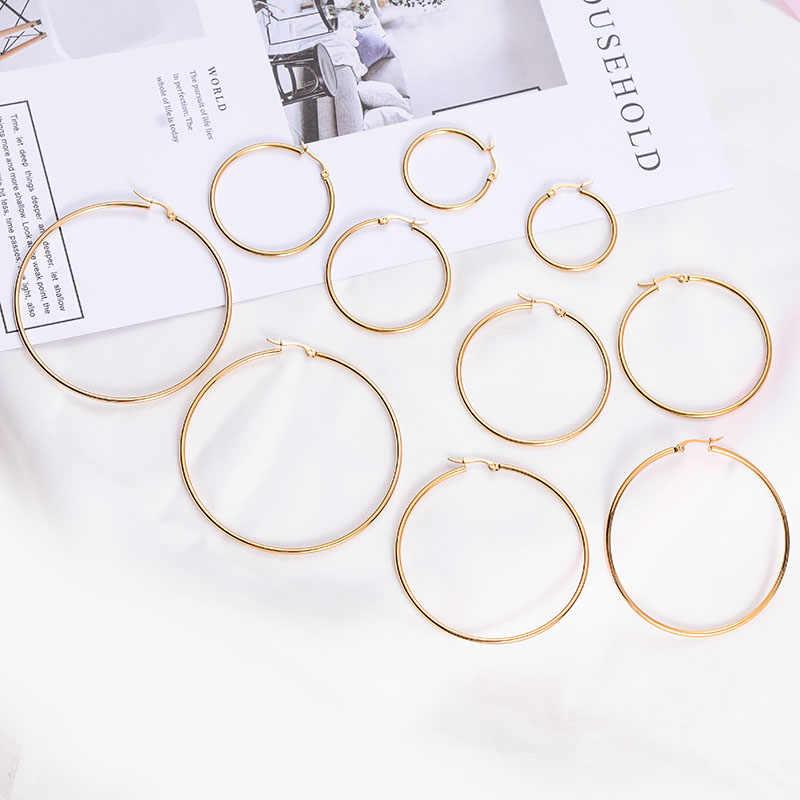 Xzp moda feminina jóias grandes brincos redondos círculo rosa ouro hoop brincos para as mulheres 30-70mm orelha acessórios presente do dia das mães