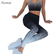 Vertvie Womens Sports Set Gradient Print Gathered Thin No Trace Slim  High Waist Two Pieces Sportwear 2019
