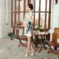 High Quality Chinese Women Real Silk Short Qipao Summer Sexy Cheongsam Vintage Printed Evening Dress Floral S M L XL XXL Z0042