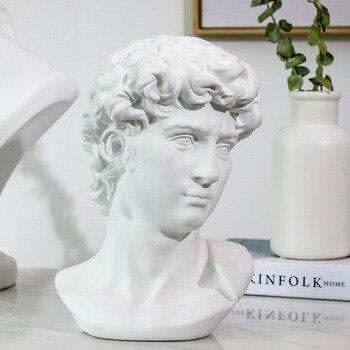 15cm estatua de David retratos de la cabeza Mini yeso decoración del hogar resina arte Sketch práctica decoración de la habitación escultura