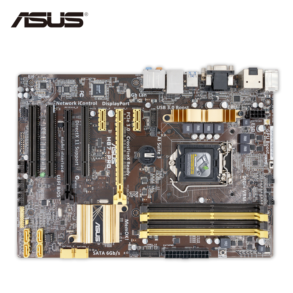 Asus H87-PRO Original Used Desktop Motherboard H87 Socket LGA 1150 i7 i5 i3 DDR3 32G SATA3 UBS3.0 ATX for mitsubishi pajero 2013 stainless steel internal door sill strip welcome pedal auto car styling stickers accessories 4 pcs