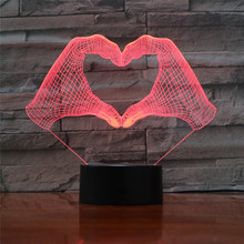 Love Heart Two Hands Gesture 3D LED Night Light with 7 Colors Light for Home Decoration Lamp Amazing Optical Light Lovers Gifts