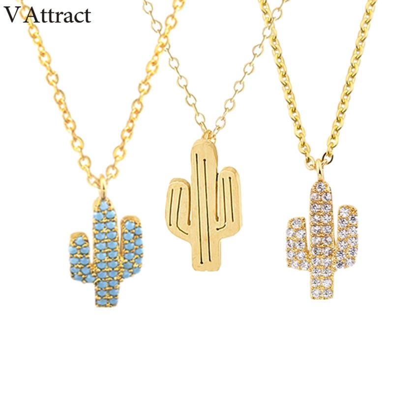 V Atrage Stil Boemia CZ Cactus Coliere Choker Colț Oțel inoxidabil Bijoux Femme Bijuterii vintage Colar de Aur Masculino