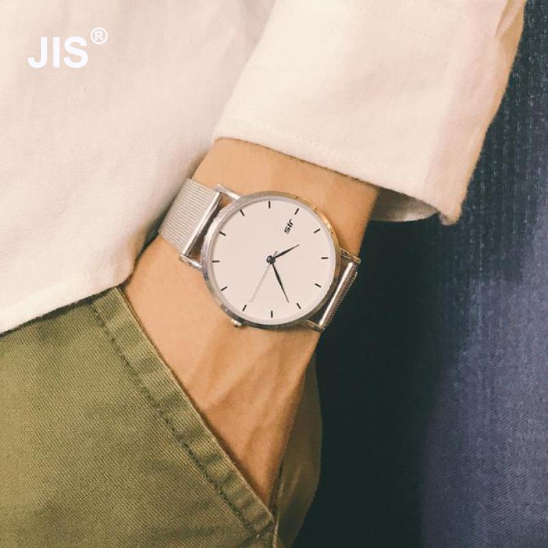 New Fashion JIS Brand Full Stainless Steel Web Strap Quartz Wristwatches Wrist Watch For Men Women Unisex Couple Silver
