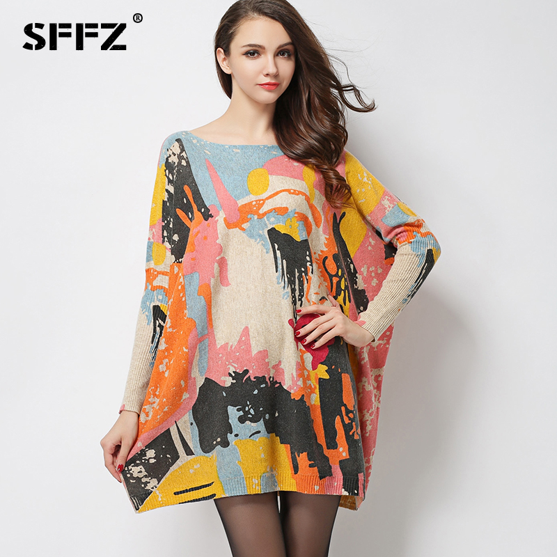 SFFZ Womens Dress 2018 New Autumn Winter Wool Blend Knitwear Oversized Batwing Sleeves Pullovers Casual Plus Size Sweater 616