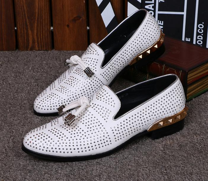 White dress shoes with white soles