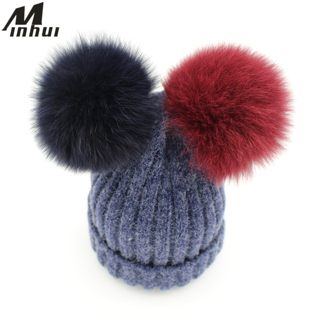 Minhui 15CM Real Fox Fur Pompom Hat Women Girls Cute Two Pom Poms Beanies Skullies Bonnet Women Winter Hat Cap