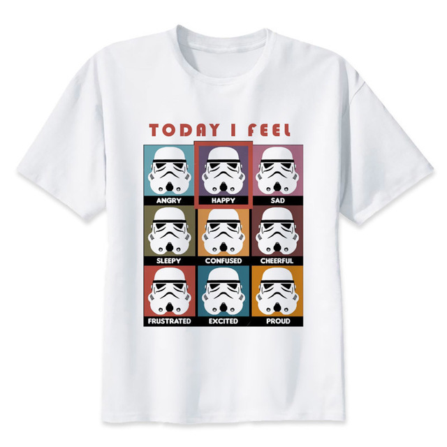 cc0e485b67 star wars t shirt Men funny darth vader T-Shirt starwars porg stormtrooper  bb8 top