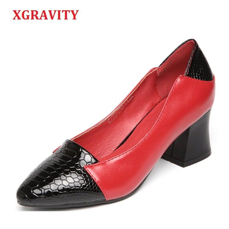 Xgravity Heiße Verkäufe Dame Mode Spitz Kleid Schuhe Elegante Echtes Leder Sexy Frau Pumpen Mischen Farbe Damen Schuhe C274 Ungleiche Leistung Damenpumps