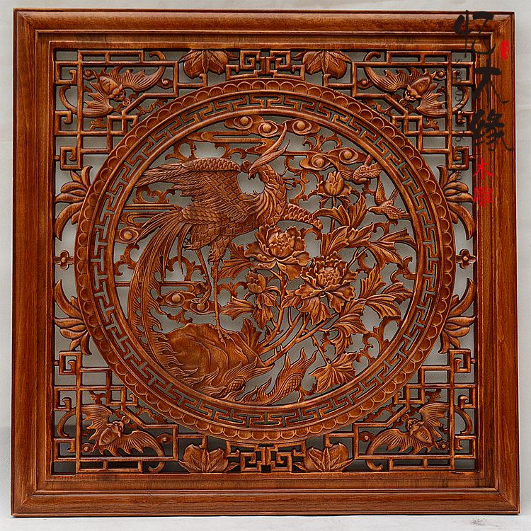 Dongyang wood carving wood carving Pendant hanging wood antique Decor partition wall Home Furnishing entrance Feng Shui