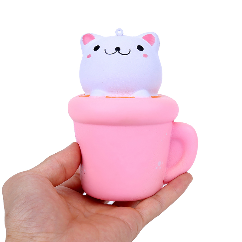 Pop Cute Cup Cat Squeeze Toys Pink Dolls With Smiles Stickers Wishy Squishy Cute Christmas Scented Anti-stress Toy Gift