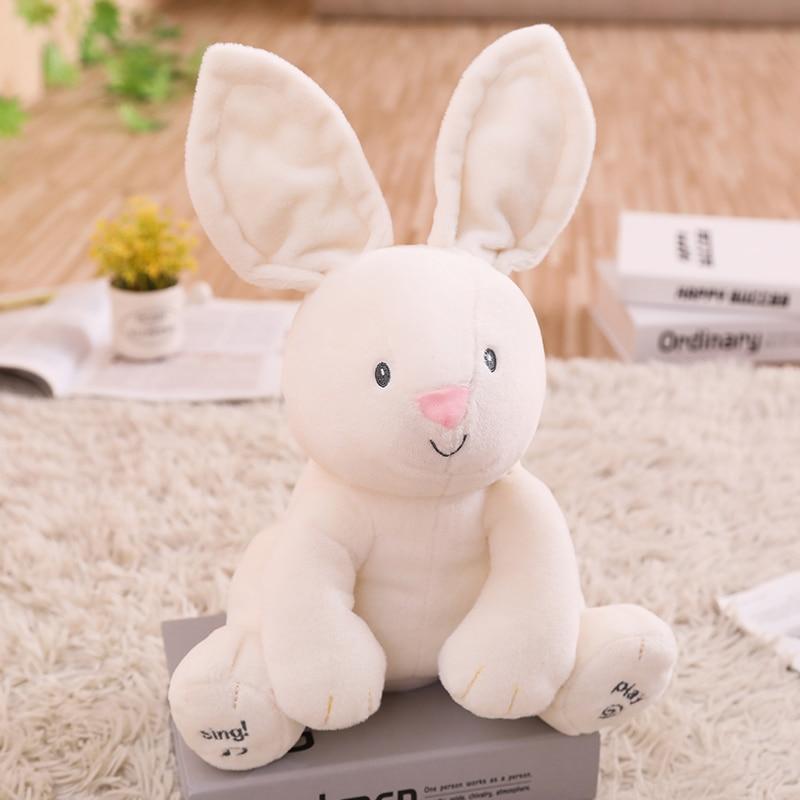Talking Singing Peek a boo Bunny speaking Rabbit plush toys Electronic stuffed animals for children girls
