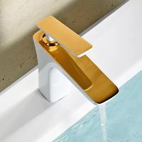 New Arrival Luxury High Quality Grilled White Gold Finished Cold And Hot Bathroom Sink Faucet Basin