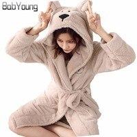 Winter Warm Bathrobes Women Cartoon Bear Knee Length Bath Robe Sleep Dress Plus Size Soft Night Gown Bridesmaid Robes Female