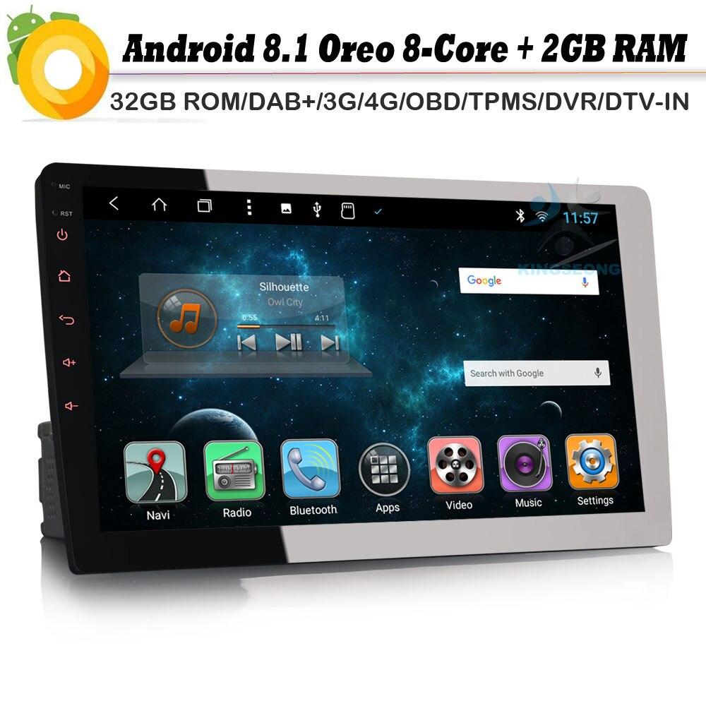 "8-core 10,1 ""DAB + 1 DIN Авторадио Android 8,1 gps NAVI Bluetooth 4G OBD DVB-T2 AUX автомобиля радио RDS BT DVD USB SD DVR"