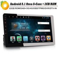 8 core 10.1 DAB+ 1 DIN Autoradio Android 8.1 GPS NAVI Bluetooth 4G OBD DVB T2 AUX Car Radio player RDS BT DVD USB SD DVR
