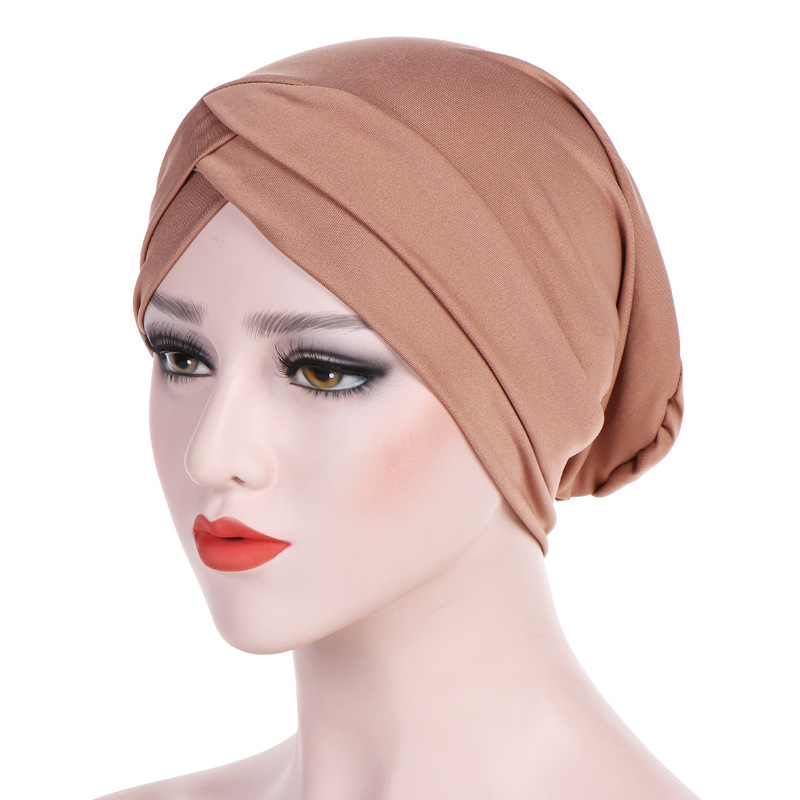 Headwear Cap African Style Women Elastic Cloth Muslim Turban Stretchy Head Wrdaps Hair Loss Cover Multicolors Turbantes