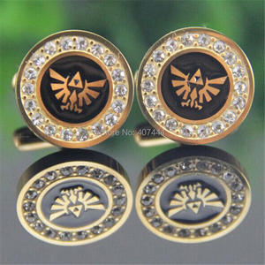 Image 4 - 2PCS Free Shipping USA UK Canada Russia Brazil Hot Sale Gold Color LEGEND Of ZELDA Stainless Steel CuffLinks With Cubic Zirconia