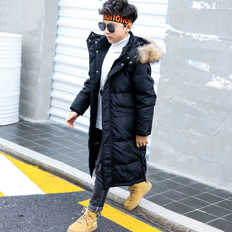 2018 Boys Winter Jacket Girls Winter Coats Fashion Long Hooded Fur Jackets Outerwear Boys Clothes 12