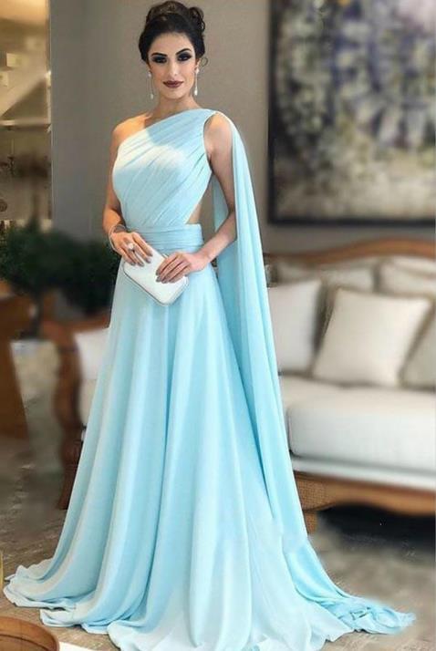 Delle Donne Del Vestito convenzionale Elegante Una Spalla Arabo Backless Watteau Treno Chiffon Una Linea di Pavimento lunghezza Abiti Da Sera Lunghi - 5